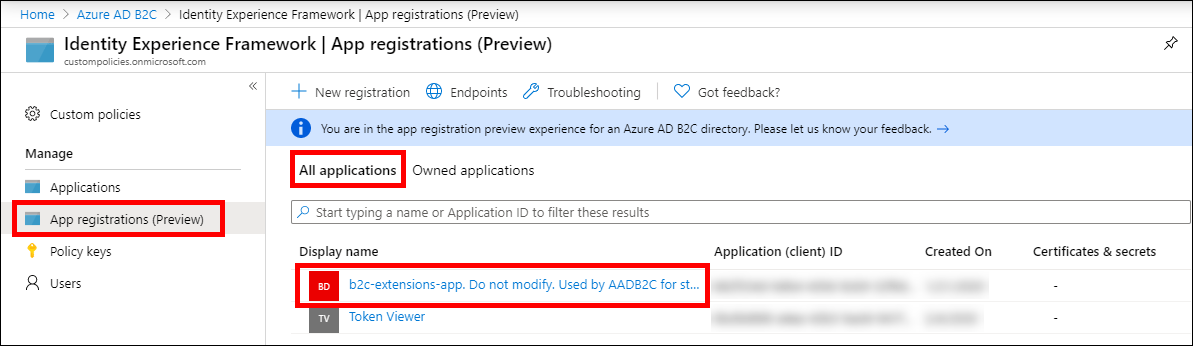 The Azure AD B2C Extensions App